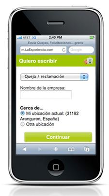 Pantalla versión móvil de LaExperiencia.com